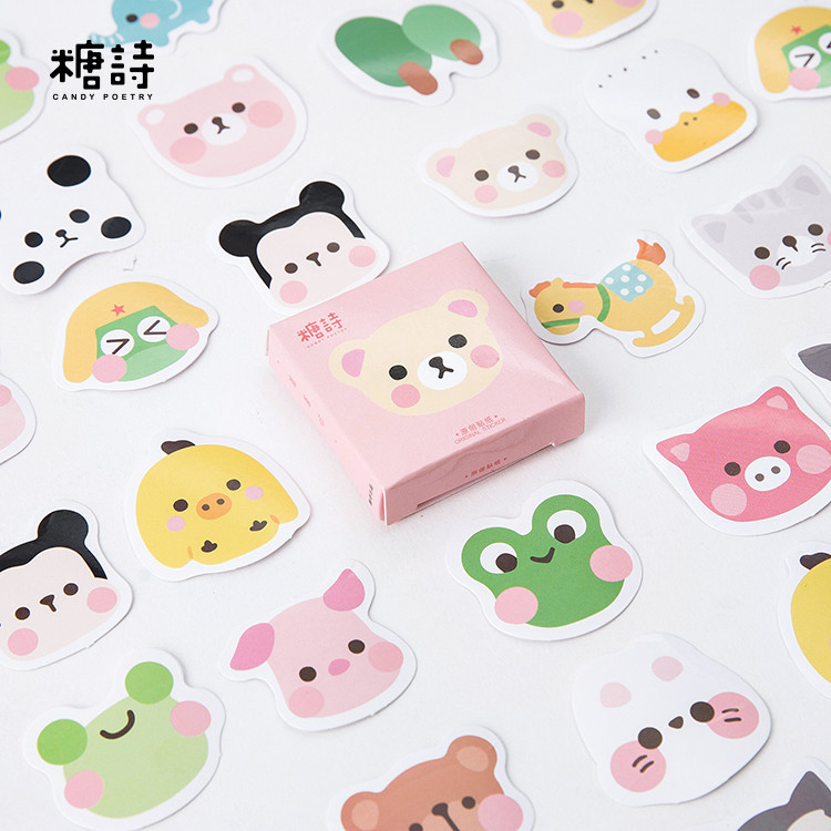 45pcs/pack Animals Kawaii Face Decorative Sticker Scrapbooking Stick Label Diary Stationery Album Sticker