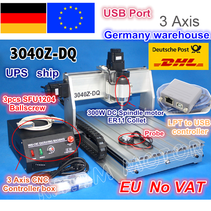 DE ship Desktop 3 Axis USB Mach3 Adapter 3040Z-DQ 300W Ball screw CNC Router ENGRAVER/ENGRAVING Milling Cutting Machine 220V цена