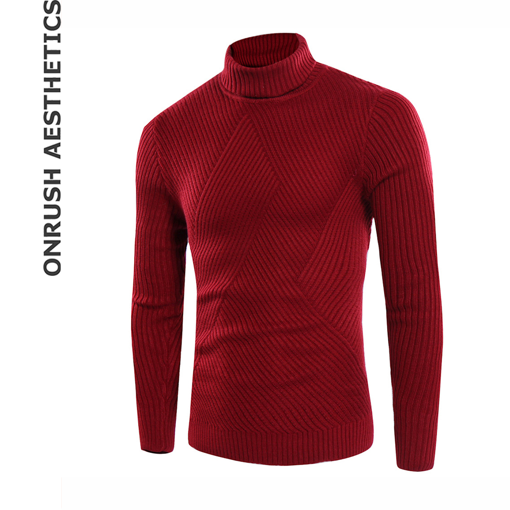 OA New Fashion Simple Mens Pullover High-necked Sweaters Bodybuilding Casual Solid Color Slim Fit Breathable Knitwear Tops