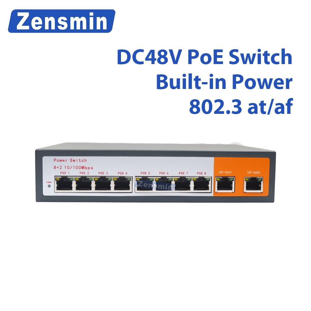Zensmin 8 Port POE switch Ethernet with 120W power adapter Network IP cameras wireless AP/ 6 port POE 52V48V suit cctv system 8ch poe 120w output 9 port power over ethernet 802 3af at 8 port poe switch supply power for cctv ip camera