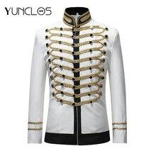 YUNCLOS Мужской однобортный пиджак мужской военный сценический костюм модный театральный костюм вечерние блейзер Мужской размера плюс