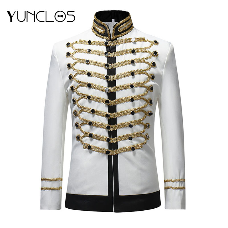 YUNCLOS  Male Single Breasted Suit Jacket Men Military Stage Suit Fashion Drama Costume Party Blazer Men Plus Size