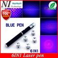 5 мВт 6 в 1 синяя фиолетовая лазерная указка  луч  светильник Puntero Laser 532nm Apresentador PPT Lazer Pen Jogo De Luz + бесплатная 5-звездочная крышка