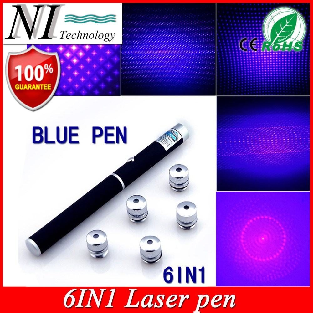 5mw 6in1 Blue Violet Laser Pointer Beam Light, Puntero ლაზერი 532nm Apresentador PPT Lazer Pen Jogo De Luz + უფასო 5 Star Cap
