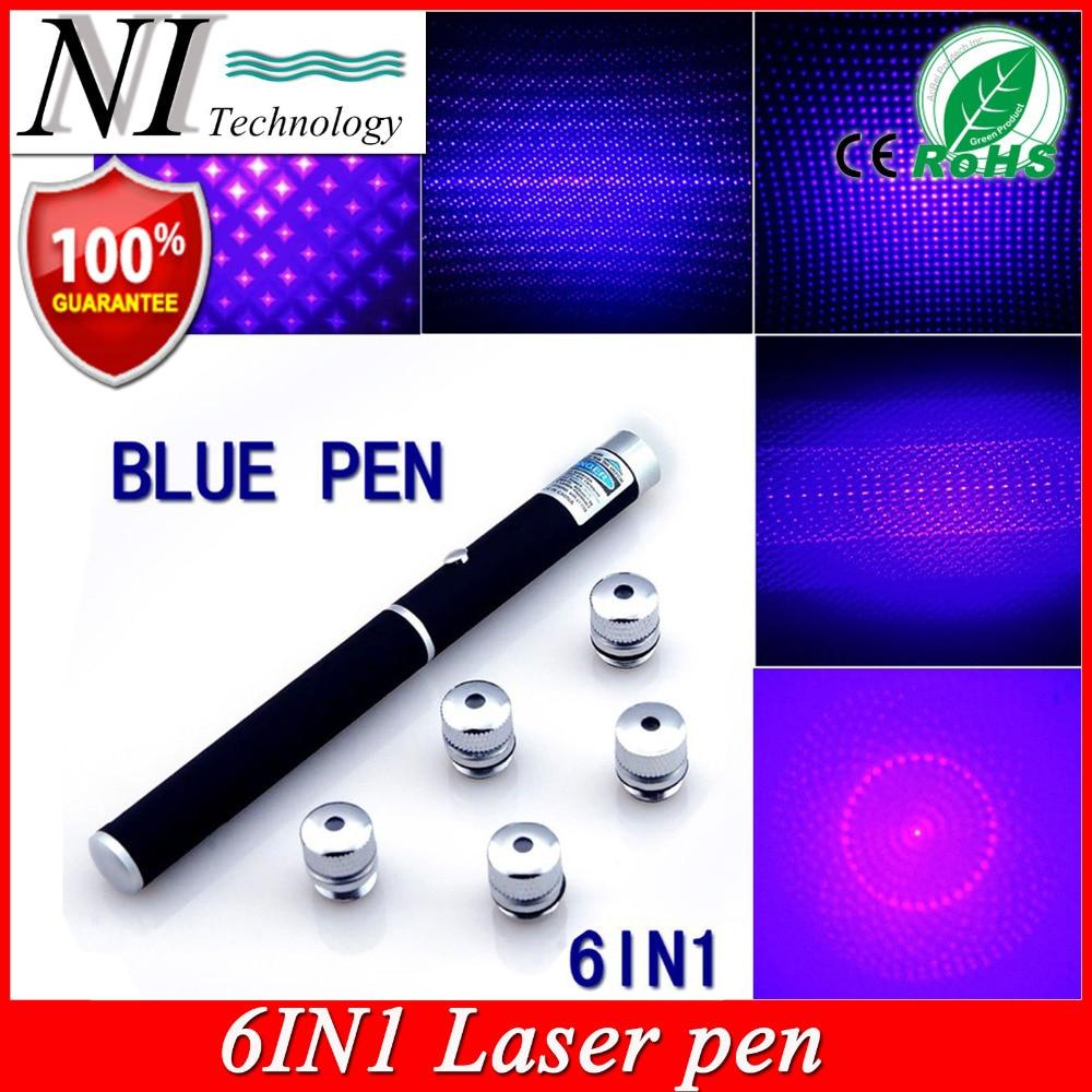 5 mw 6in1 Mavi Menekşe Lazer Pointer Işın Işık Puntero Lazer 532nm Apresentador PPT Lazer Kalem Jogo De Luz + Ücretsiz 5 Yıldız Kap
