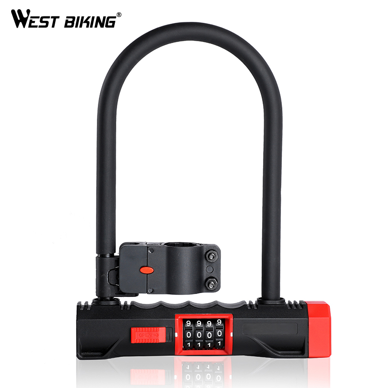 WEST BIKING Password Code Bicycle U Lock Anti-theft MTB Road Bike Motorcycle Bike U Lock Steel Safety Heavy Duty Bicycle U-Locks