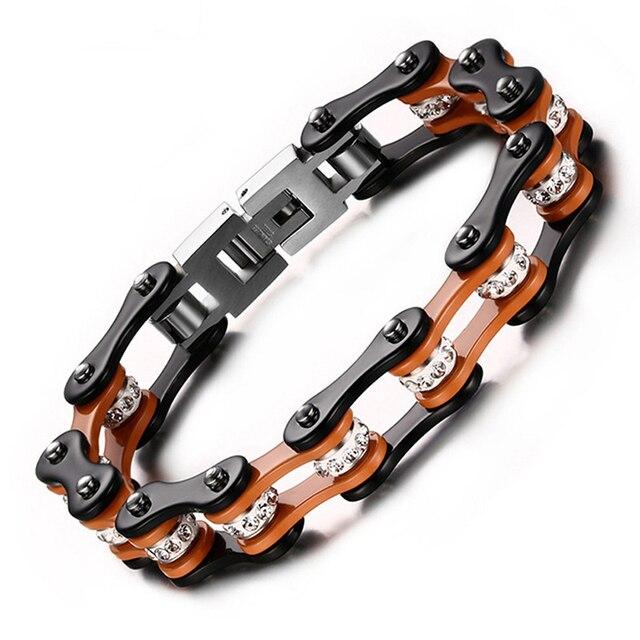 10mm Fashion Motorbike Chain Bracelets Black Brown Color Biker Cycle Link Bracelets Bangles Men Women Stainless Steel Jewelry