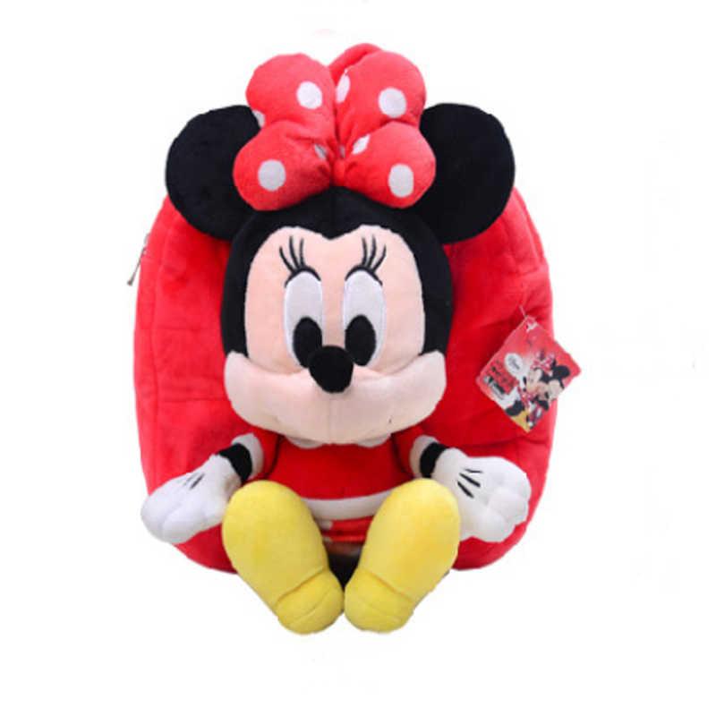 30cm Mochila De felpa para niños de Mickey y Minnie Mouse para niños, Mini mochila escolar, regalos de muñeca de niños para niñas, juguetes de Mickey y Pooh, bolsas de felpa