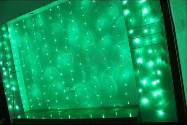 Bright green led string curtain christmas lights m leds