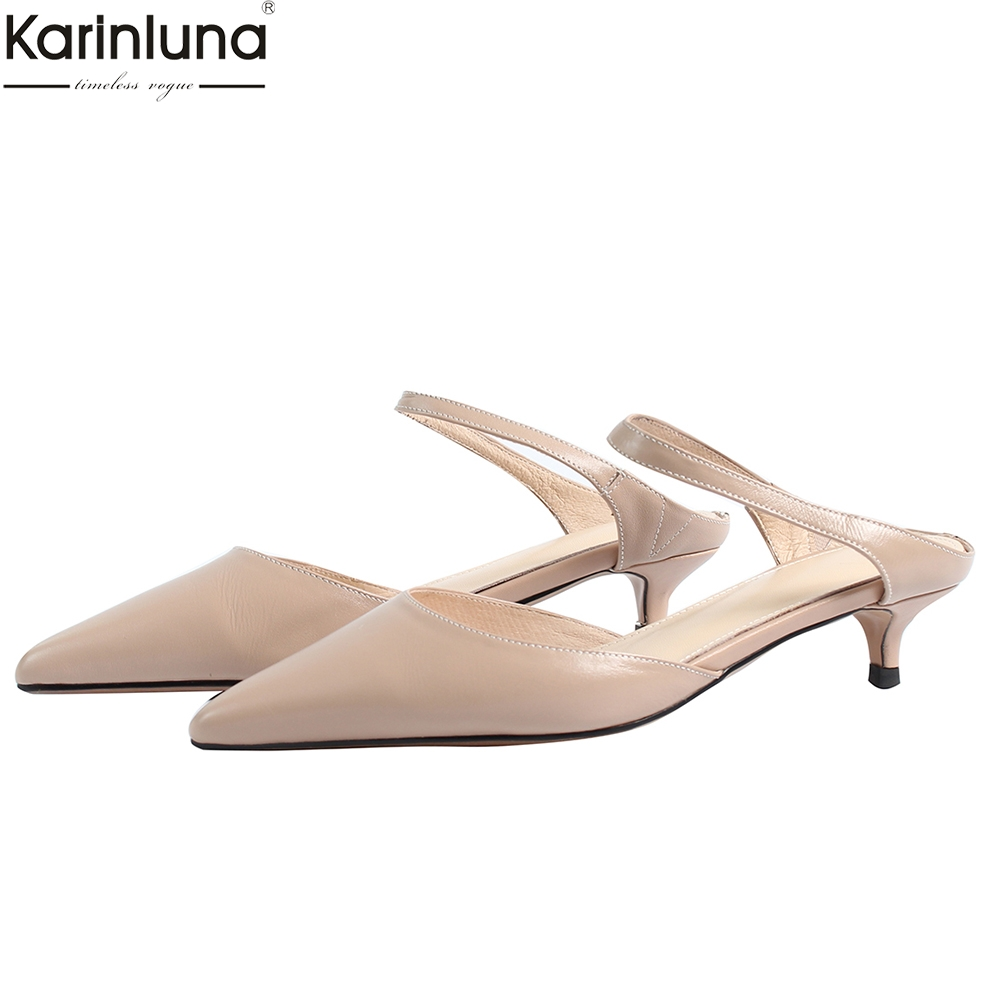 KarinLuna brand new natural cow genuine leather Woman Shoes sexy pointed toe low Heels Party shoes