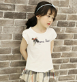 Vestido menina 2016 Brand letters bow summer ruffles girls cotton T-shirt  girls clothes kids clothes 3 4 5 6 7 8 9 10  years