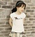 Vestido menina 2016 letras de la Marca arco volantes de verano de algodón de las muchachas muchachas de la Camiseta ropa ropa de los cabritos 3 4 5 6 7 8 9 10 años