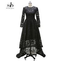 Hi Low Lace Long Elegant Evening Dresses Black Long Sleeve A Line Custom Made Evening Gown