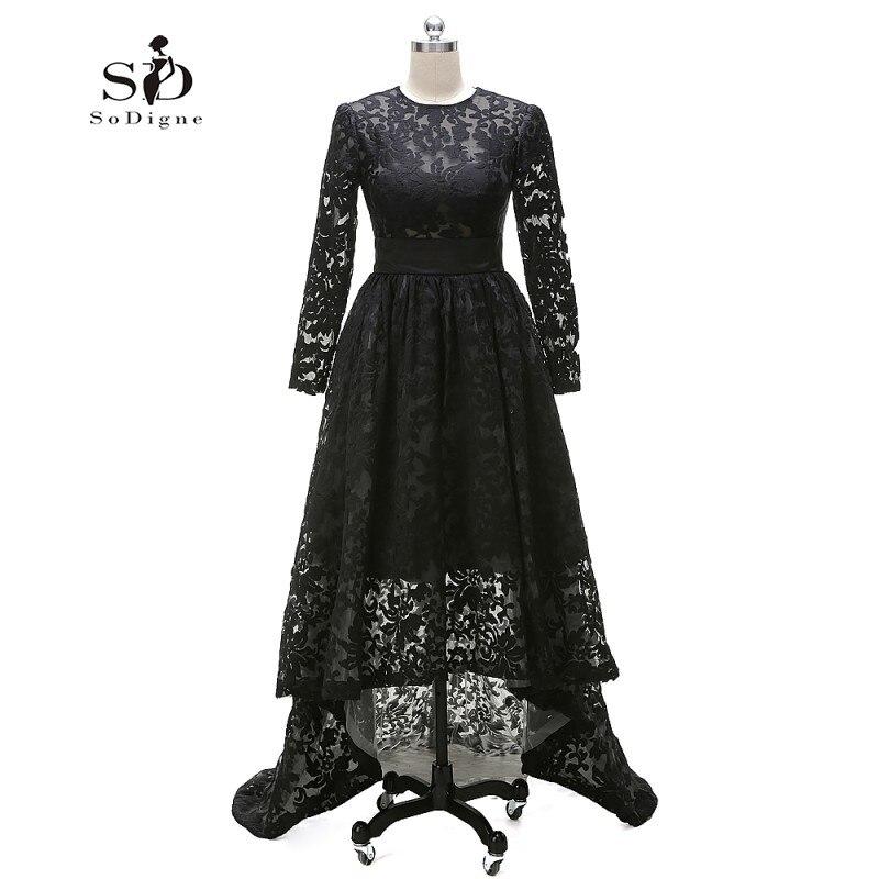 Hi Low Lace Long Elegant Evening Dresses Black Long Sleeve A-line Custom Made Evening Gown Dress Long Graduation Dresses