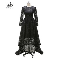 Hi Low Lace Long Elegant Evening Dresses Black Long Sleeve A Line Custom Made Evening Gown