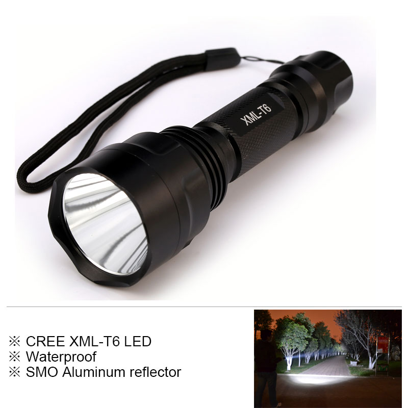 Super Bright LED CREE XM-L T6 Flashlight 6000Lumens Torch Camping Light Tactical Flashlight Lamp for 1*18650 Battery nitecore mt10a tactical flashlight edc cree xm l2 u2 920 lumens led mini torch with red white light by 14500 aa battery