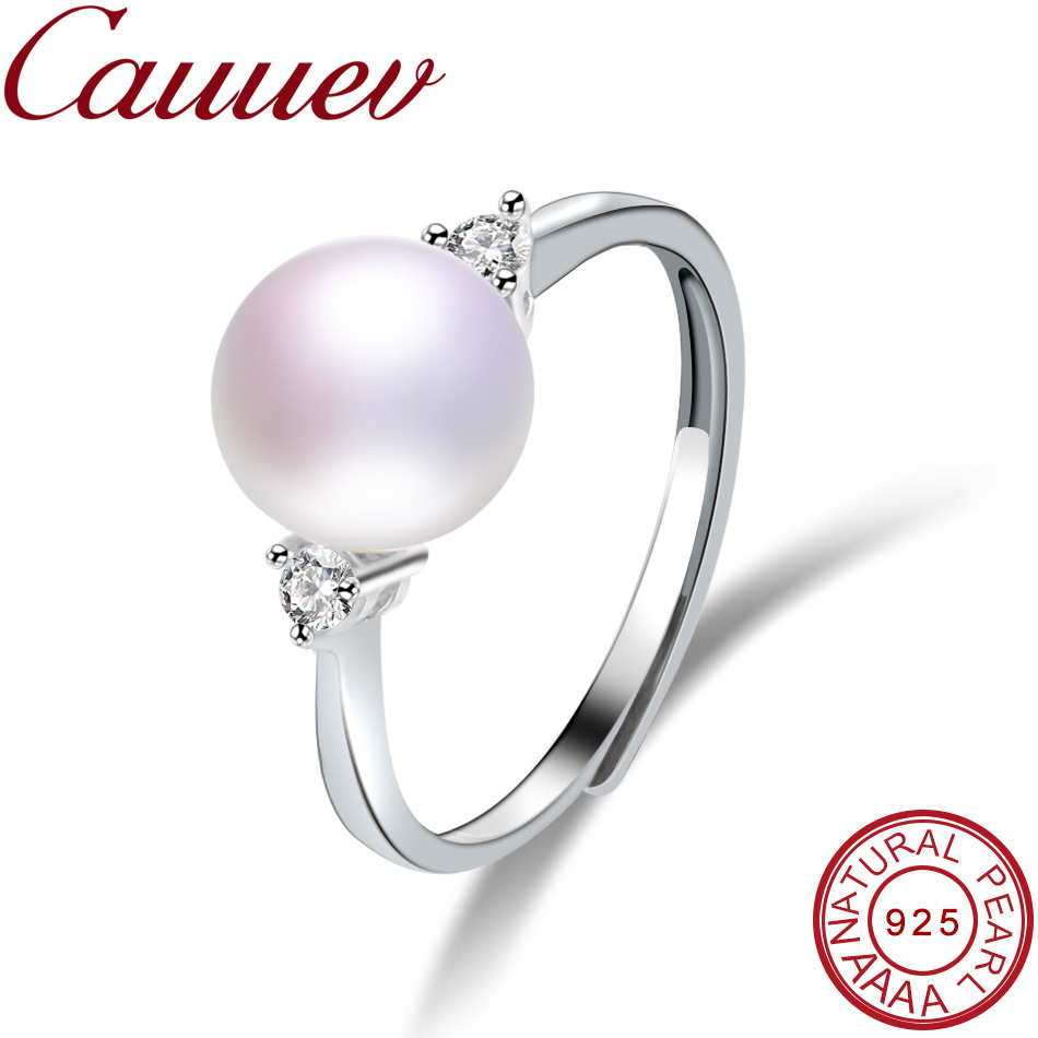 Cauuev Real Natural Freshwater Pearl Wedding Ring Fashion 925 Sterling Silver Women Engagement Zircon Ring Elegant Jewelry Gifts