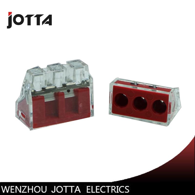 50 pcs PCT-103D Empurre fio fiação conector Para caixa de Junção de 3 pinos condutor terminal block