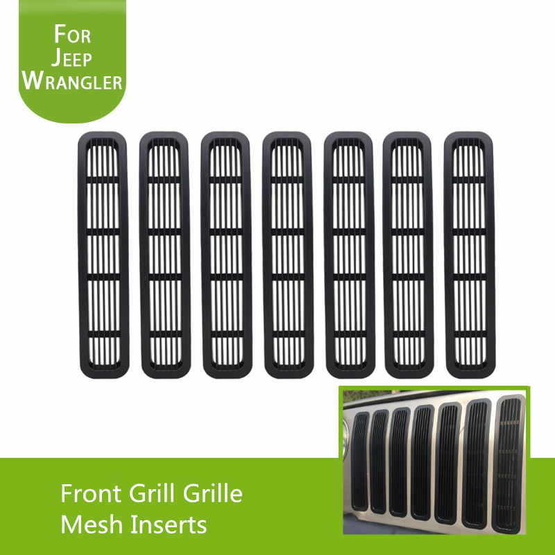 Black Front Grill Inserts Trim for 1997 2006 Jeep Wrangler TJ Unlimited Car Styling Pack of