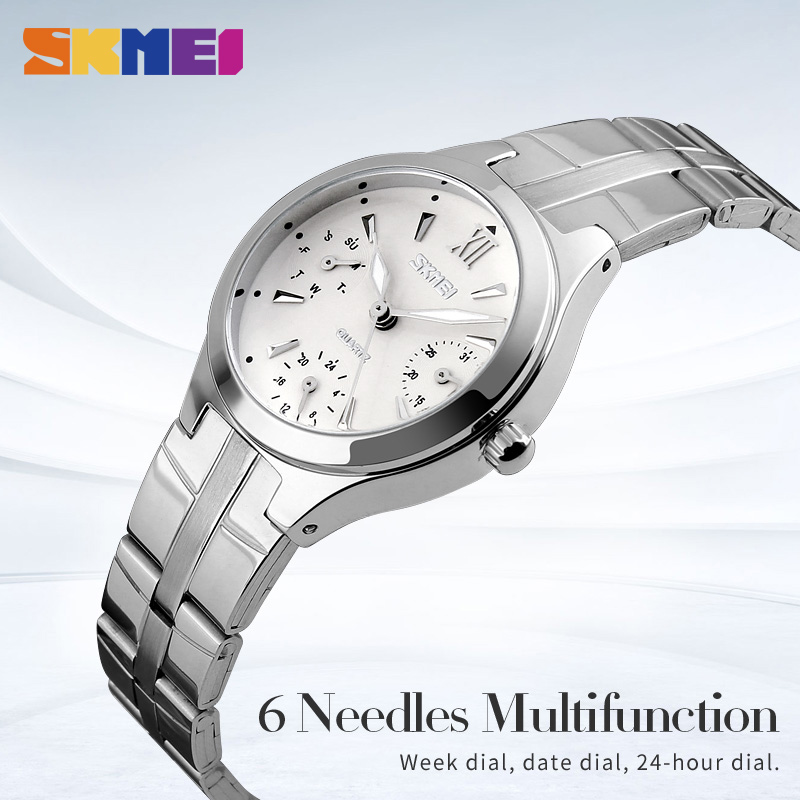 SKMEI Quartz Women Watches Complete Calendar 3bar Waterproof Dress Watch Stainless Steel Band Lady Wristwatches 9132 reloj mujer in Women 39 s Watches from Watches