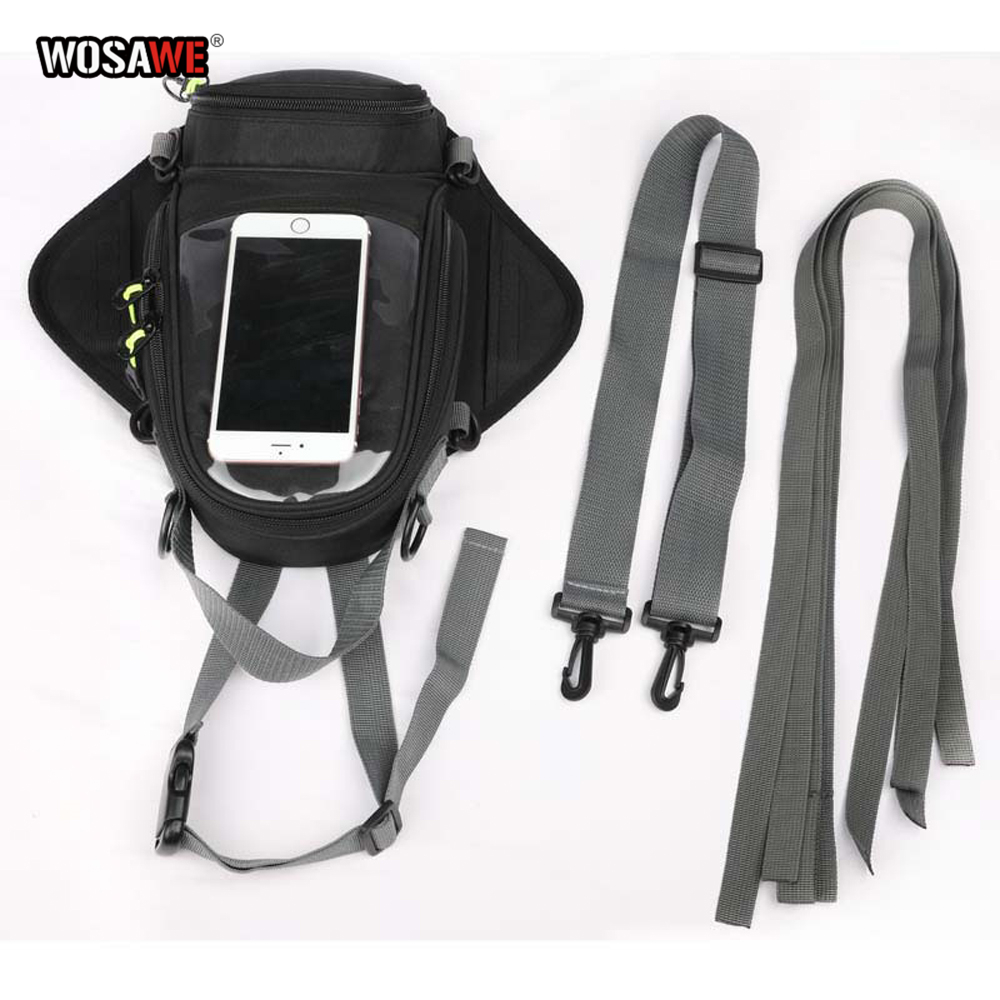 Image 4 - WOSAWE мотоциклетная топливная сумка для навигации по мобильному телефону Сумка Многофункциональная маленькая масляная емкость пакет магнитные фиксирующие петли фиксированные-in Сумки на бак from Автомобили и мотоциклы