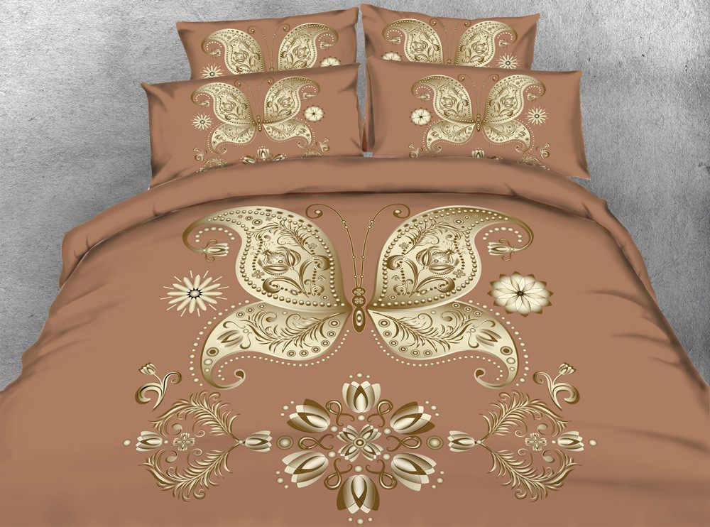 Golden butterfly bean color Digital print Bedding Set  Quilt Cover  Design Bed Set Bohemian a Mini Van Bedclothes 3pcs JF187