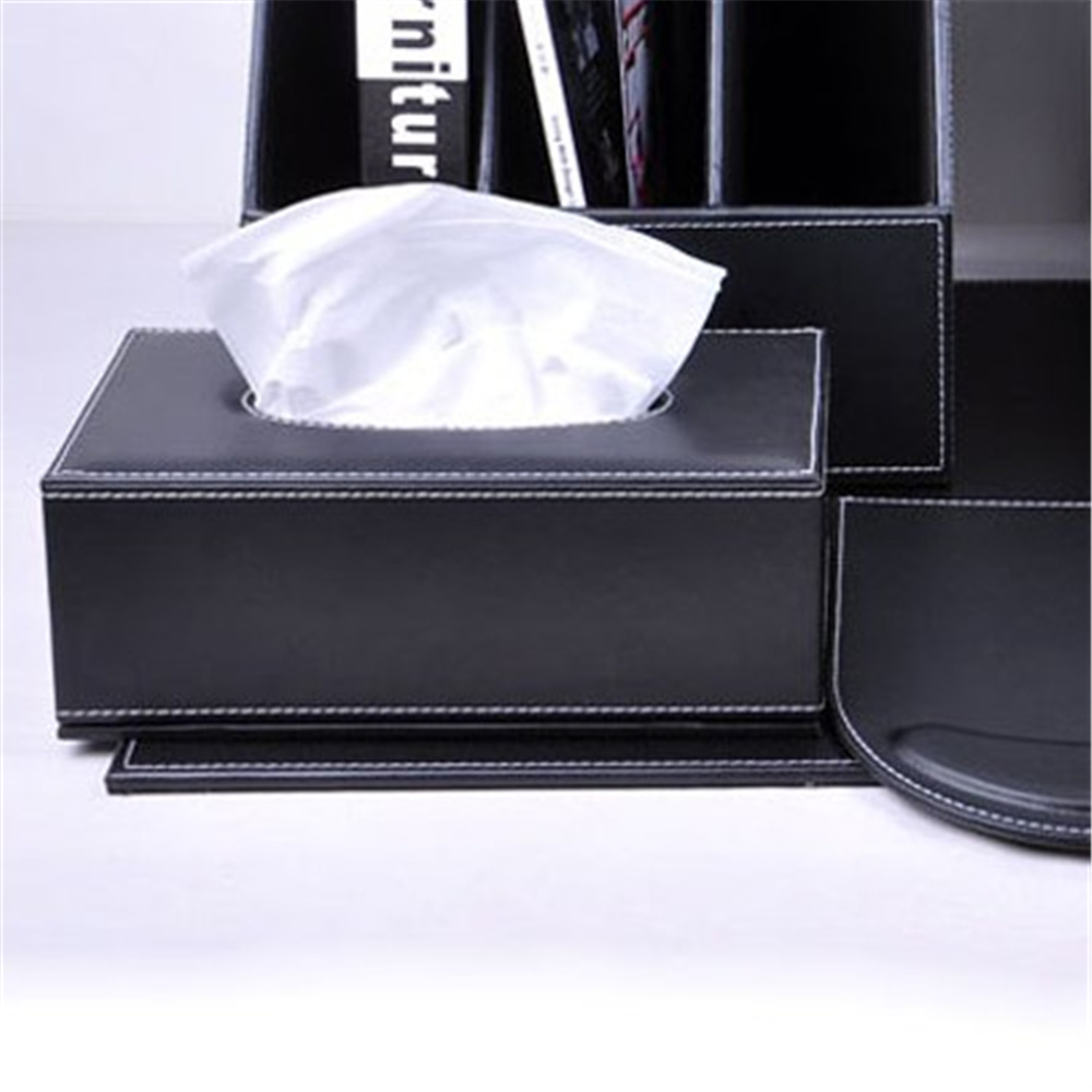 Leather desk accessories - Creative Office Napkin Carton Car Tissue Box Leather Black Office Desk Accessories Supplies China