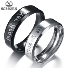 Couple Rings Jewelry Gifts Engagement Stainless-Steel Lovers HOBBORN for Her Beast His