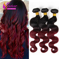 7A Ombre Hair Extensions Brazilian Body Wave 3 Bundles 1b/Burgundy Brazilian Virgin Hair Ombre Brazilian Hair Remy Human Hair