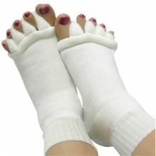 1 Pair font b Fitness b font Massage Separator Five Toe Yoga Socks White Sleeping Fingers