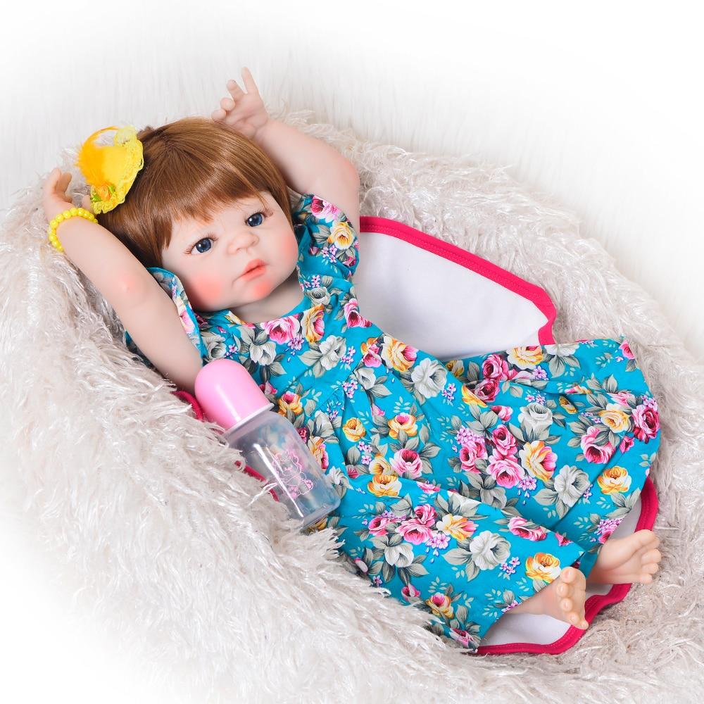 Nuevo diseño 23 ''realista bebé Reborn Doll Menina 57 cm vinilo de silicona completo juguetes de bebé realistas con Peluca de pelo regalo de Navidad para niños-in Muñecas from Juguetes y pasatiempos    2