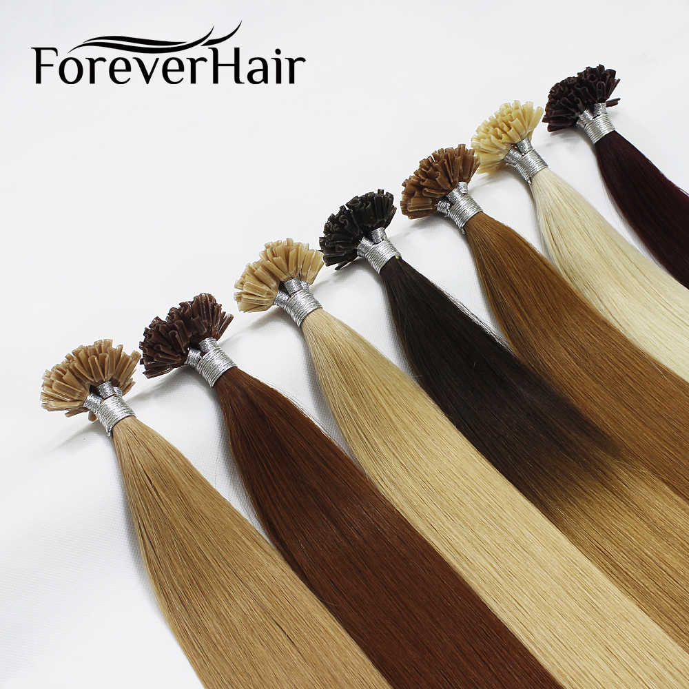 "FOREVER HAIR 1g/s 16"" 18"" 20"" 100% Real Remy Fusion Hair Extension Red Keratin Tip Natural Human Hair Extensions 50pcs/pac"