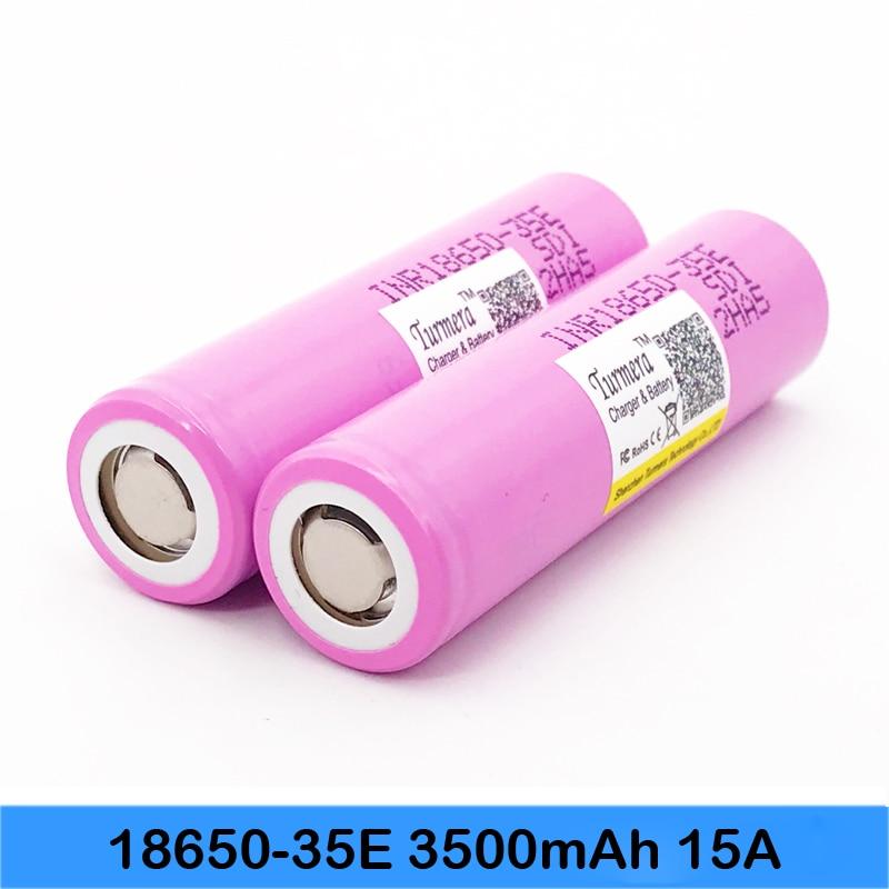 inr18650 35e Turmera For samsung 18650 3500mAh 15A discharge INR18650 35E 18650 Li-ion battery 3.7v rechargable Battery