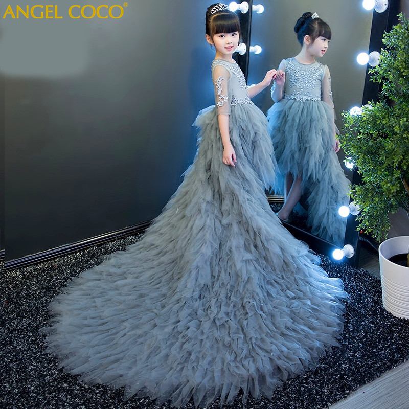 Gray Girl Princess Dress Long Sleeve Tailing T Stage Catwalk Dress New ChildrenS Evening Dress Carnival Costume For Kids G