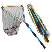 200MM Folding Fishing Landing Net Fish Net Cast Carp Rubber Coated Net Network with Extending Telescoping Pole Handle Blue Alloy