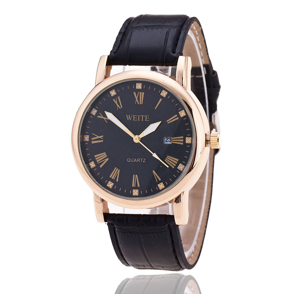 store quartz weite genuine fashion leather calendar watch casual business brand watches date men luxury automatic product