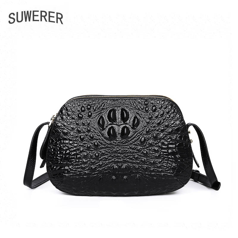 SUWERER 2018 Women Genuine Leather bags luxury handbags women bags designer Cowhide Crocodile pattern women leather handbags стоимость