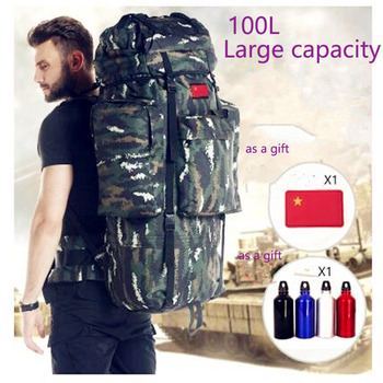 65L 100L  Large Capacity Men Travel Bag Outdoor Mountaineering Backpack Hiking Camping Water-proof Nylon Bucket Shoulder Bags
