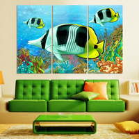 3PCS Beautiful Undersea World Landscape Wall Painting Print On Canvas For Home Decor Ideas Paints On