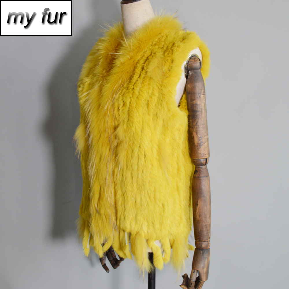 2020 Women Real Rabbit Fur Vest Handmade Knitted Tassels 100% Real Genuine Rabbit Fur Gilet Real Raccoon Fur Collar Waistcoat
