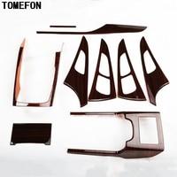 TOMEFON For Audi A6L A6 L 2012 2015 ABS Plastic Wood Paint Interior Trim Central Control Inner Door Bowl Auto Accessories 9pcs
