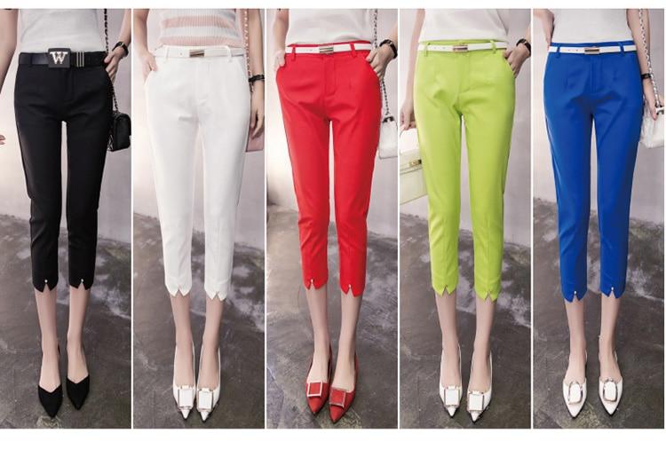 Women Capris Pants Summer 2018 Casual Lady Mid-calf Length Workwear Trousers High Waist Female Slim Elastic Candy Color Leggings