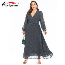 Women Autumn Vintage Dress Plus Size Spring Deep V-neck Sexy Women Casual Dress Full Sleeve Chiffon Long Dresses Vintage Grace(China)