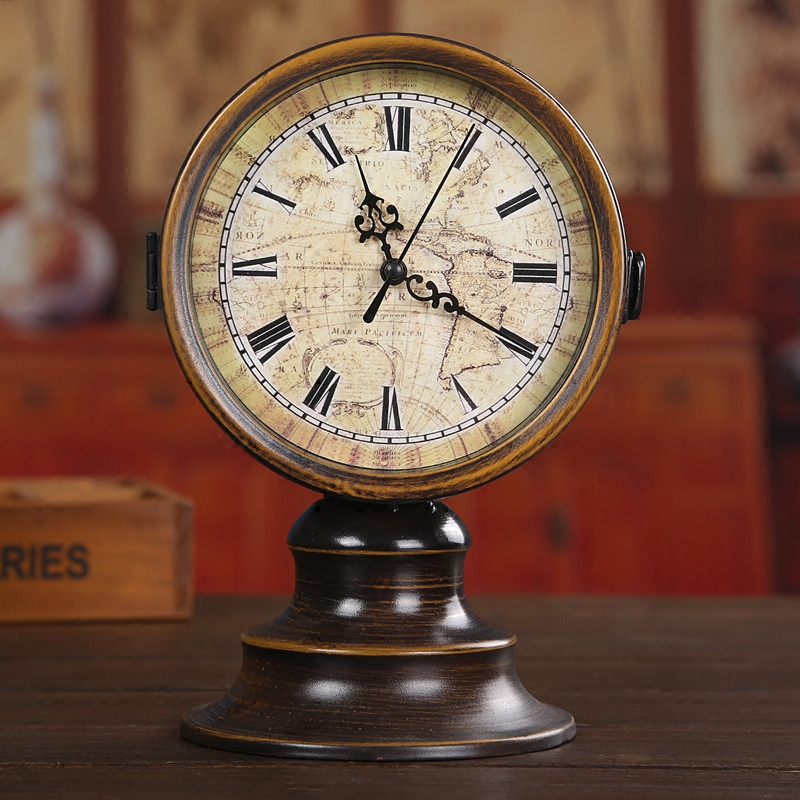 Vintage 6inch Double Sided Round Iron ART Desk Table Clock Classic Home Decoration Ornament