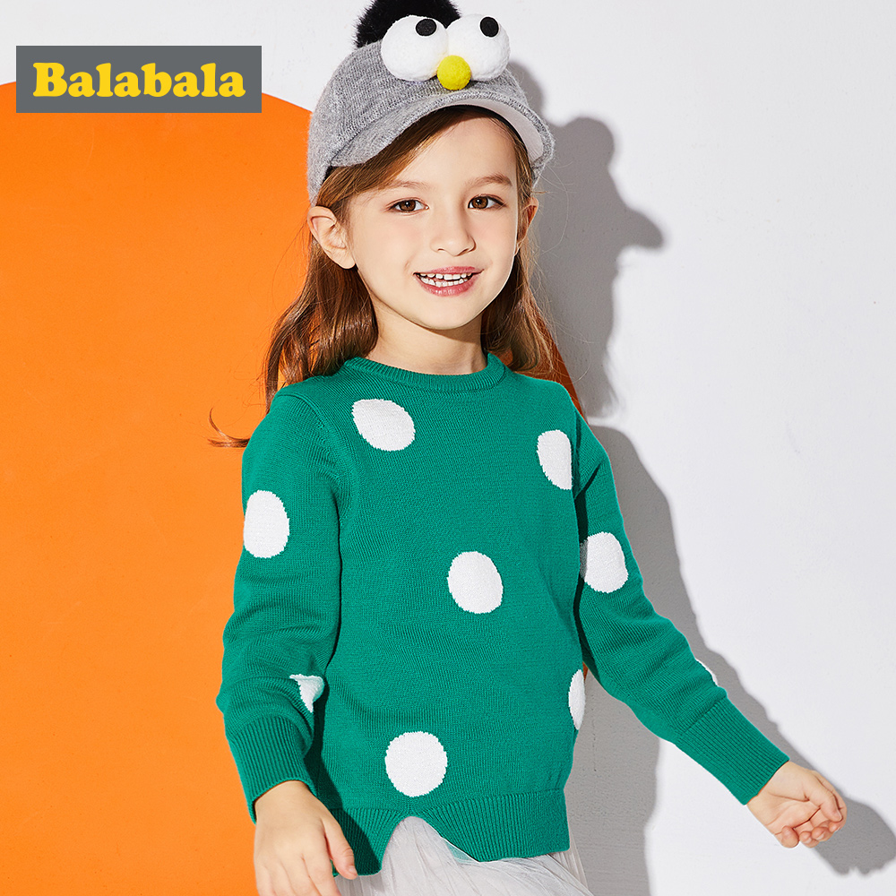 Balabala children's knitted pullover sweater for girls 100% Cotton O-Neck Dot jumper lovely Tops clothes Sweater for Baby girl мона лиза детский комплект далматинец наволочка 40 60 см