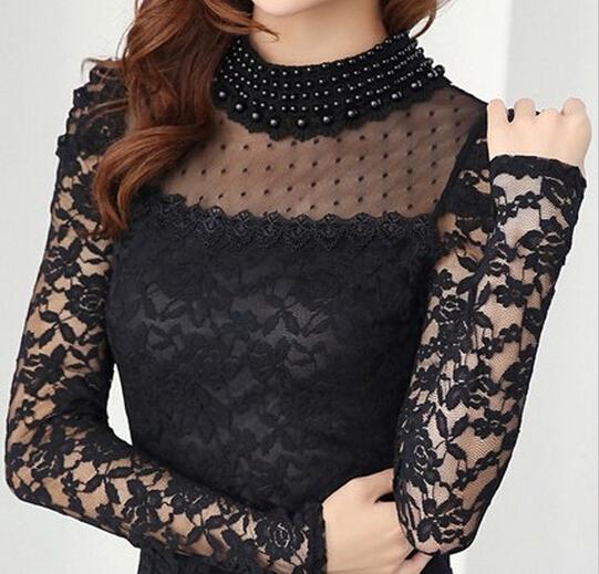 Alta qualidade 2016 nova outono mulheres moda manga comprida Lace Floral colar de pérolas cobre rendas Blusas camisa blusa ocasional