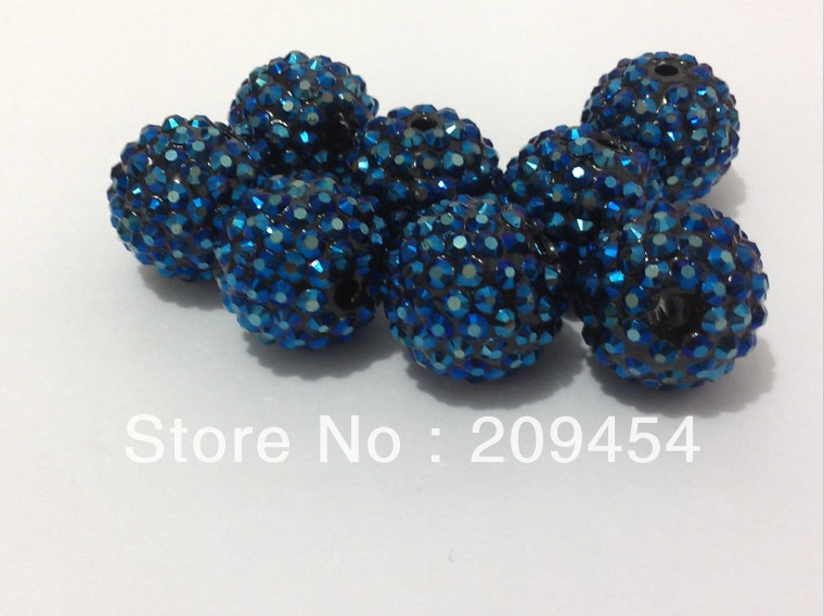20mm 100pcs/lot  Dark Blue (41#) Color Resin Rhinestone Ball Beads,Chunky Beads For Kids  Jewelry Making-in Beads from Jewelry & Accessories
