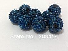 20mm 100pcs/lot  Dark Blue (41#) Color Resin Rhinestone Ball Beads,Chunky Beads For Kids  Jewelry Making