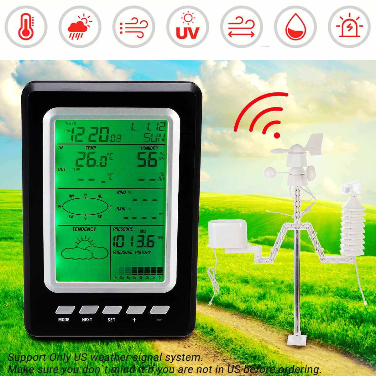 Professional Wind Home Weather Station Wireless Solar LCD Temperature Forecast Instrument for Outdoor IndoorProfessional Wind Home Weather Station Wireless Solar LCD Temperature Forecast Instrument for Outdoor Indoor