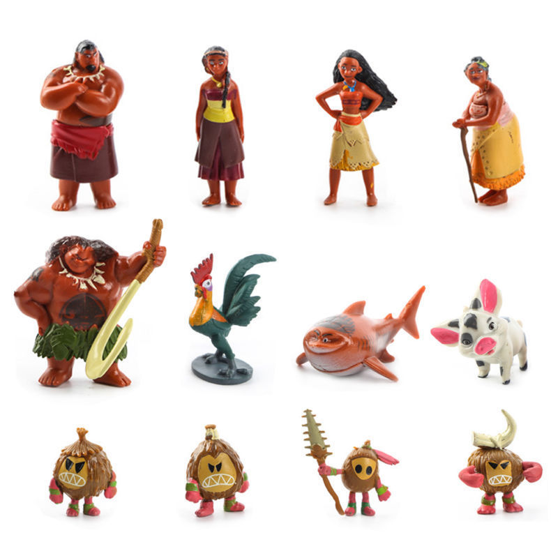 12PCS /set Princess Moana Maui Waialik Heihei PVC Action Figures Toys For Children Gifts Dolls Collections new arrival five nights at freddy s fnaf action figures toys bonnie foxy freddy fazbear bear pvc figure dolls toys for children